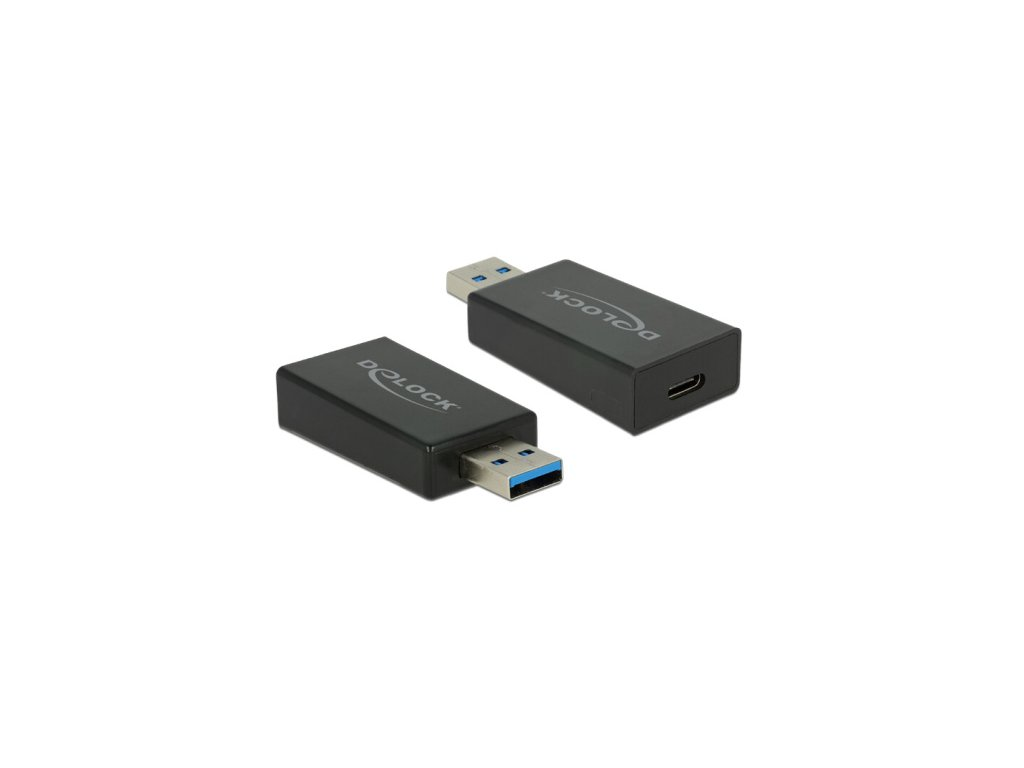 Delock Adaptér SuperSpeed USB 10 Gbps (USB 3.1 Gen 2) TypA samec > USB Type-C™ samice černý