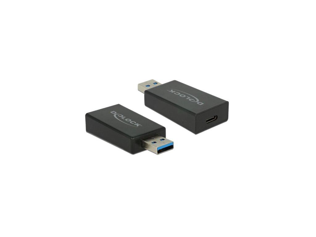 Delock Adaptér SuperSpeed USB 10 Gbps (USB 3.2 Gen 2) TypA samec > USB Type-C samice černý