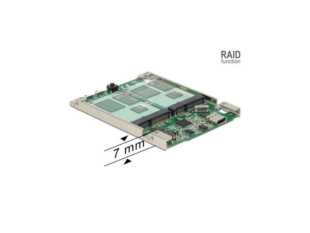 """Delock 2.5"""" Převodník USB 3.2 Gen 2 USB Type-C samice > 2 x mSATA s RAID 7 mm"""