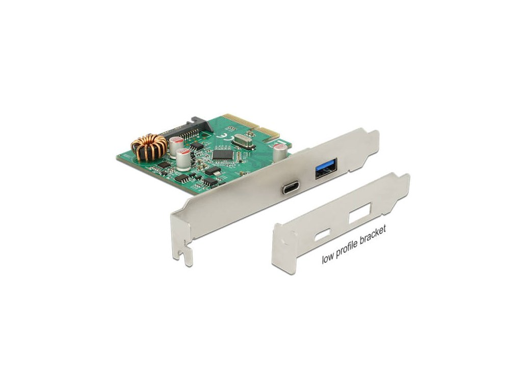 Delock PCI Express x4 Karta > 1 x externí USB Type-C samice + 1 x externí USB 3.2 Gen 2 Typ-A samice