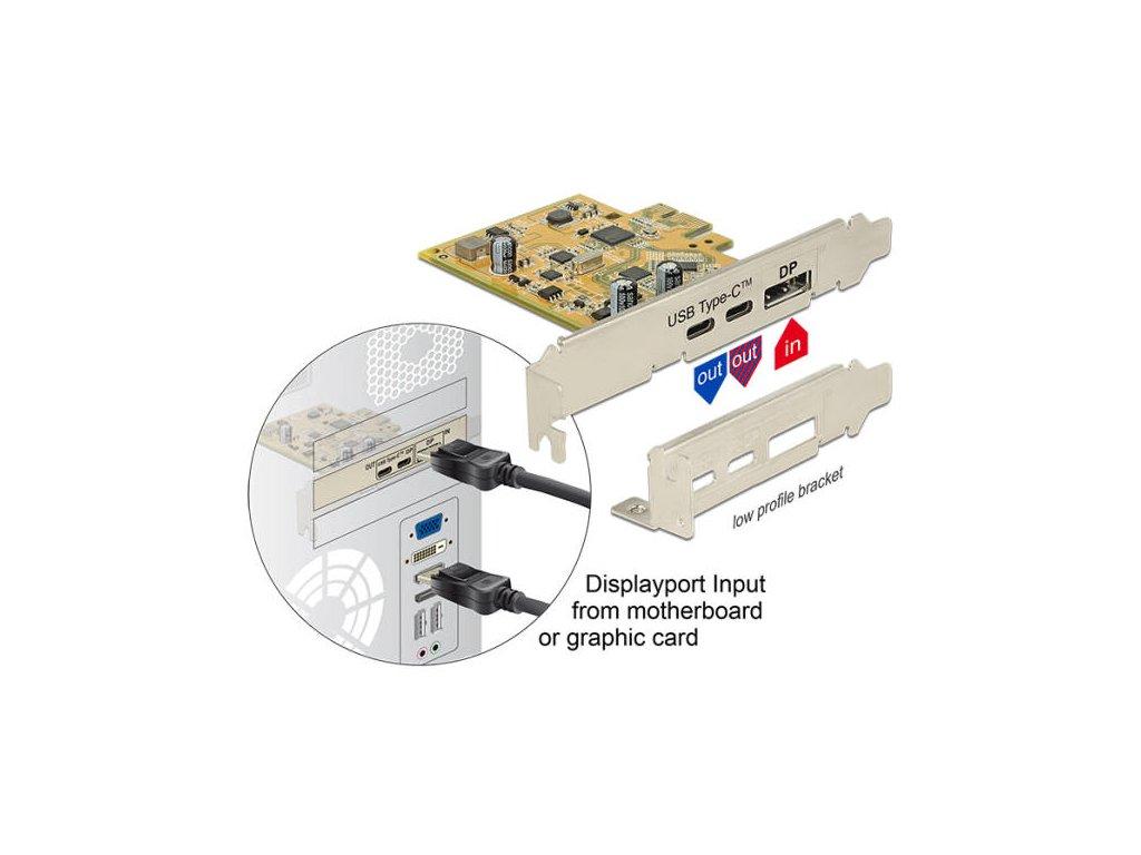 Delock PCI Express Karta > 1 x externí USB Type-C 3.2 samice + 1 x externí USB Type-C 3.2 (DP Alt Mód) samice