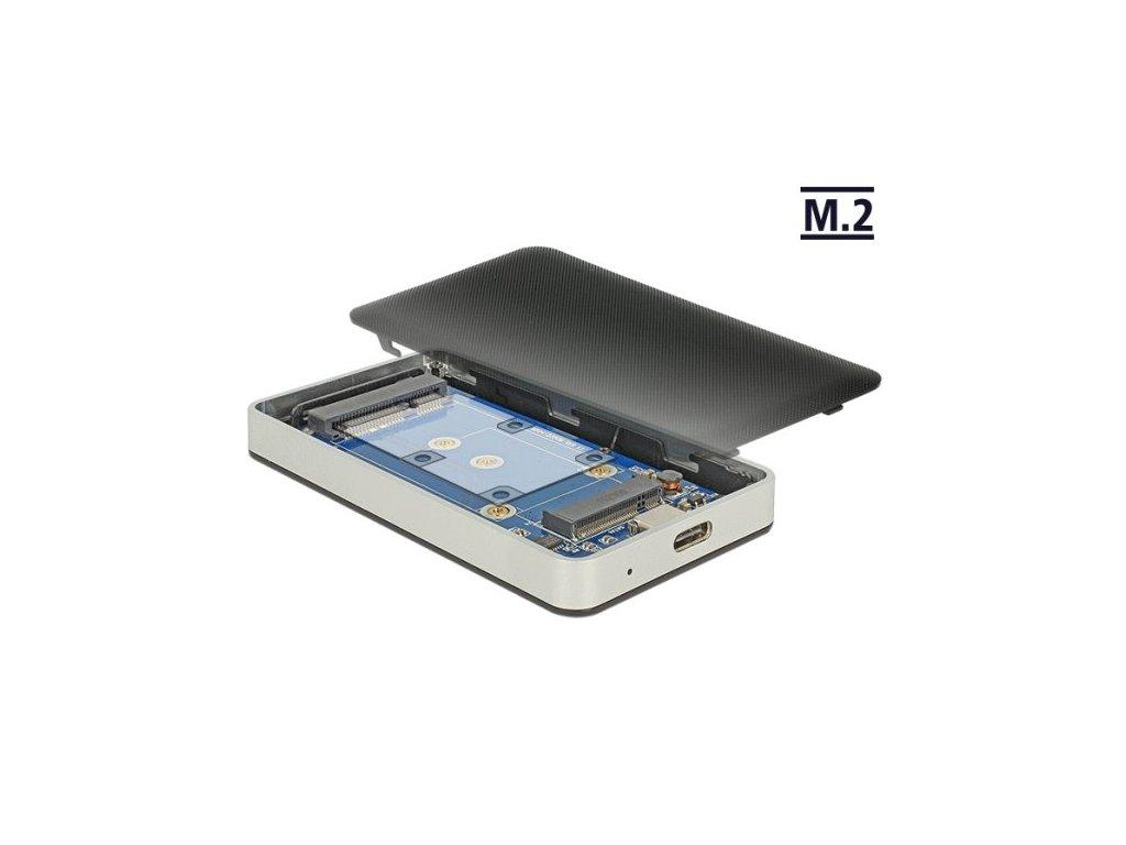 Delock Externí pouzdro M.2 Key B 42 mm / mSATA SSD > USB Type-C 3.2 Gen 2 samice