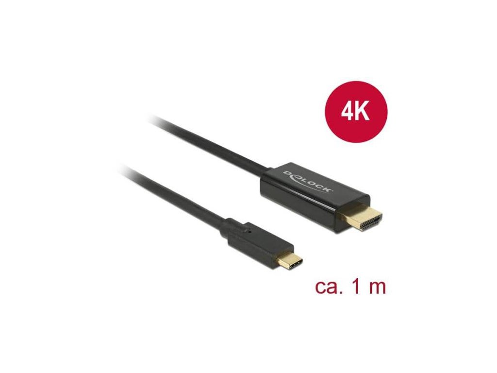 Delock Kabel USB Type-C™ samec > HDMI samec (DP Alt Mód) 4K 30 Hz 1 m černý