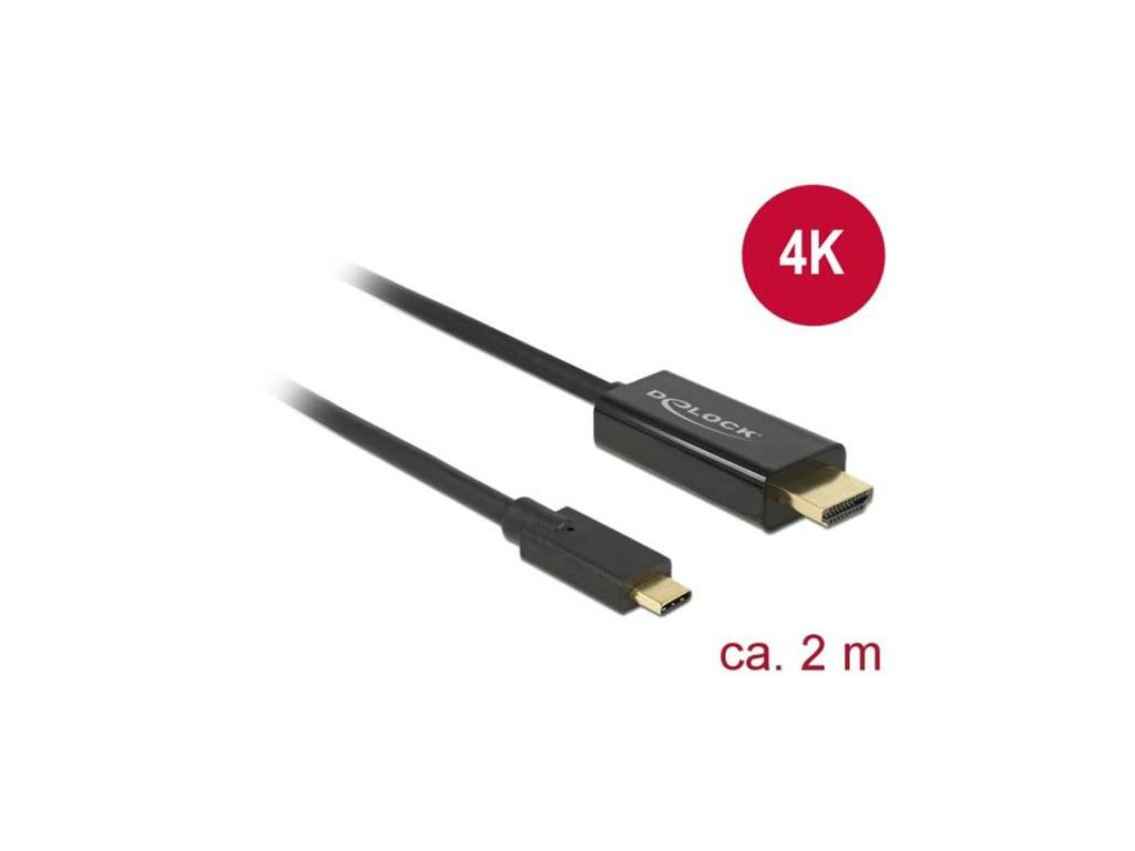Delock kabel USB Type-C male > HDMI male (DP Alt Mode) 4K 30 Hz 2 m black