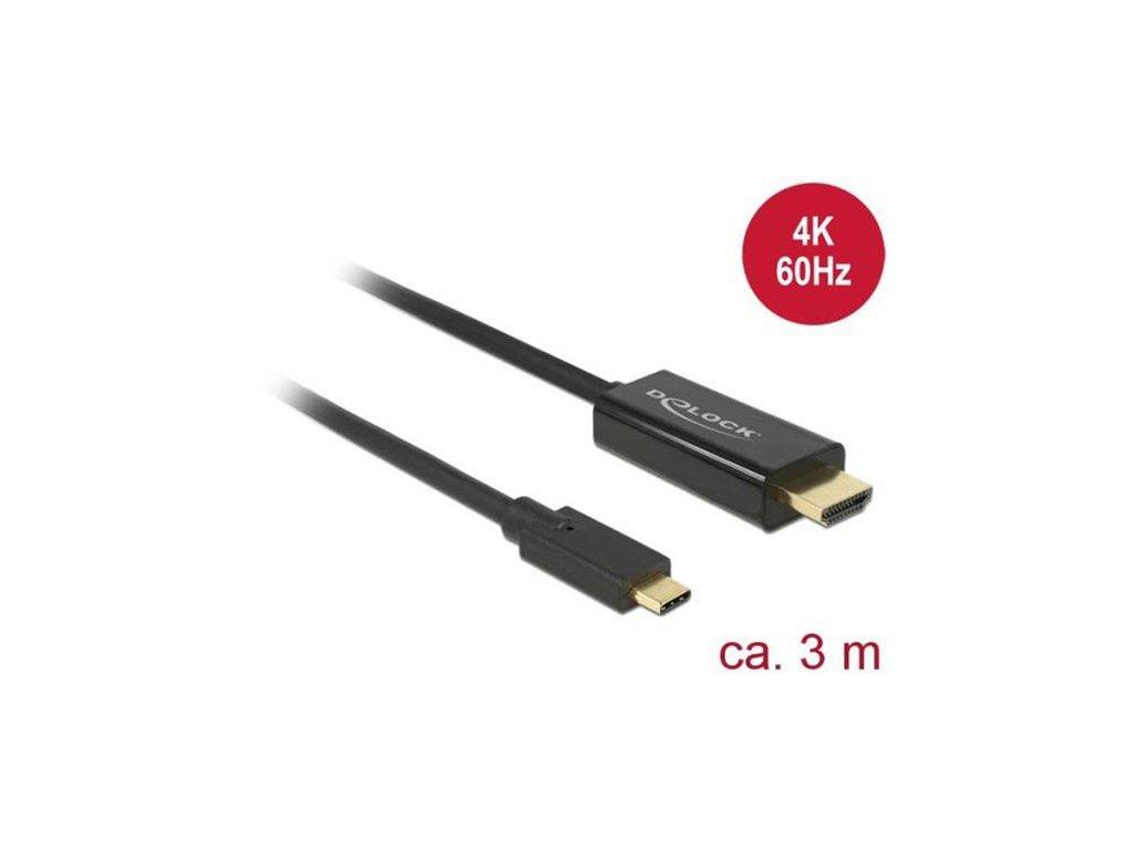 Delock Kabel USB Type-C™ samec > HDMI samec (DP Alt Mód) 4K 60 Hz 3 m černý