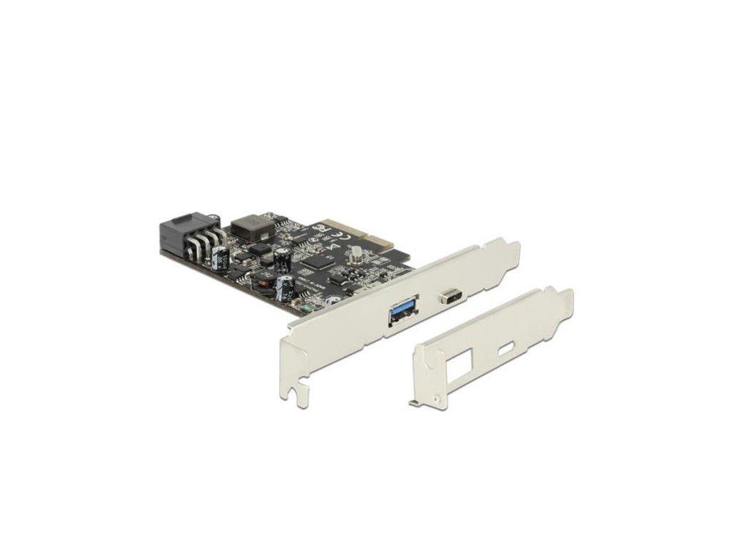 Delock PCI Express x2 karta > 1 x externí USB Type-C samice s funkcí PD max. 93 W + 1 x externí USB 3.2 Gen2 Typ-A samice