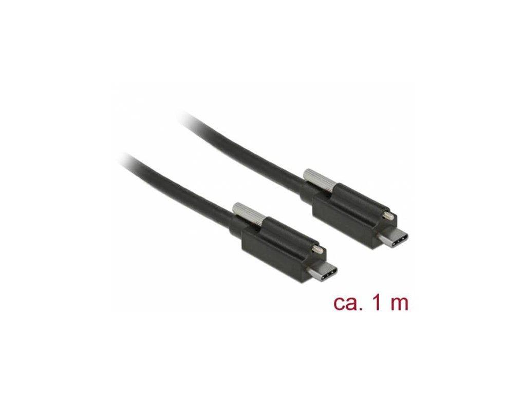 Delock Kabel SuperSpeed USB 10 Gbps (USB 3.2 Gen 2) USB Type-C samec > USB Type-C samec se šroubem nahoře 1 m černý