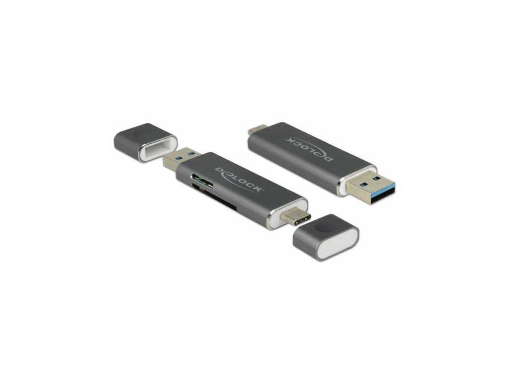 Delock Čtečka karet USB Type-C™ / USB 3.1 Gen 1 Type-A > SD / MMC + Micro SD