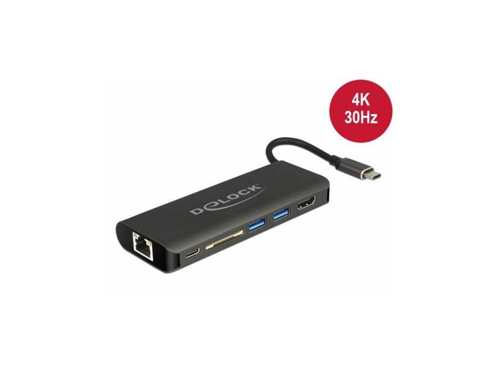 Delock USB Type-C™ 3.1 dokovací stanice HDMI 4K 30 Hz, Gigabit LAN a funkce USB PD