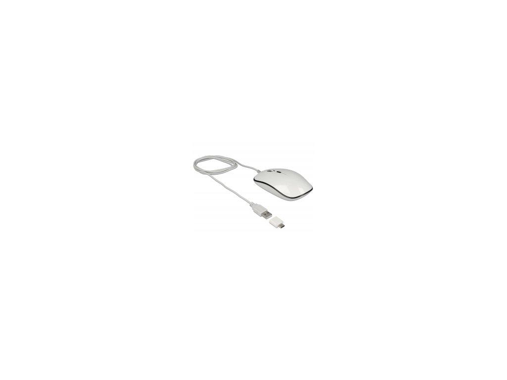 Delock Optická 4-tlačítková USB Typ-A + USB Type-C myš pro stolní počítače