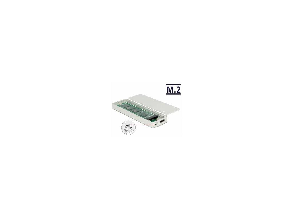 Delock Externí skříň M.2 Key B 42/60/80 mm SSD > USB Type-C 3.2 Gen 2 samice s ochranou proti zápisu
