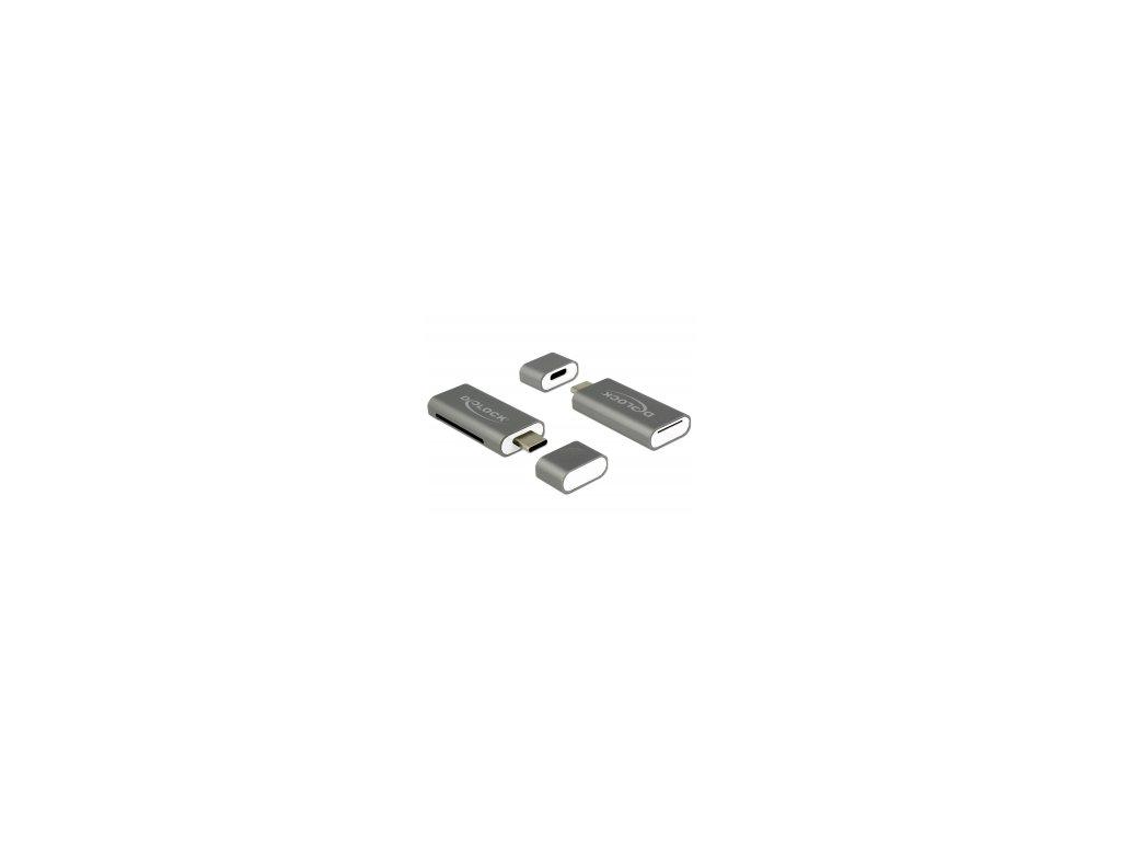 Delock Čtečka karet USB Type-C SDHC / MMC + Micro SD 2 Sloty