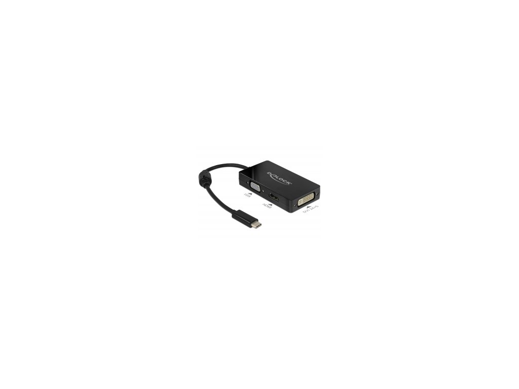 Delock Adapter USB Type-C Stecker > VGA / HDMI / DVI Buchse schwarz