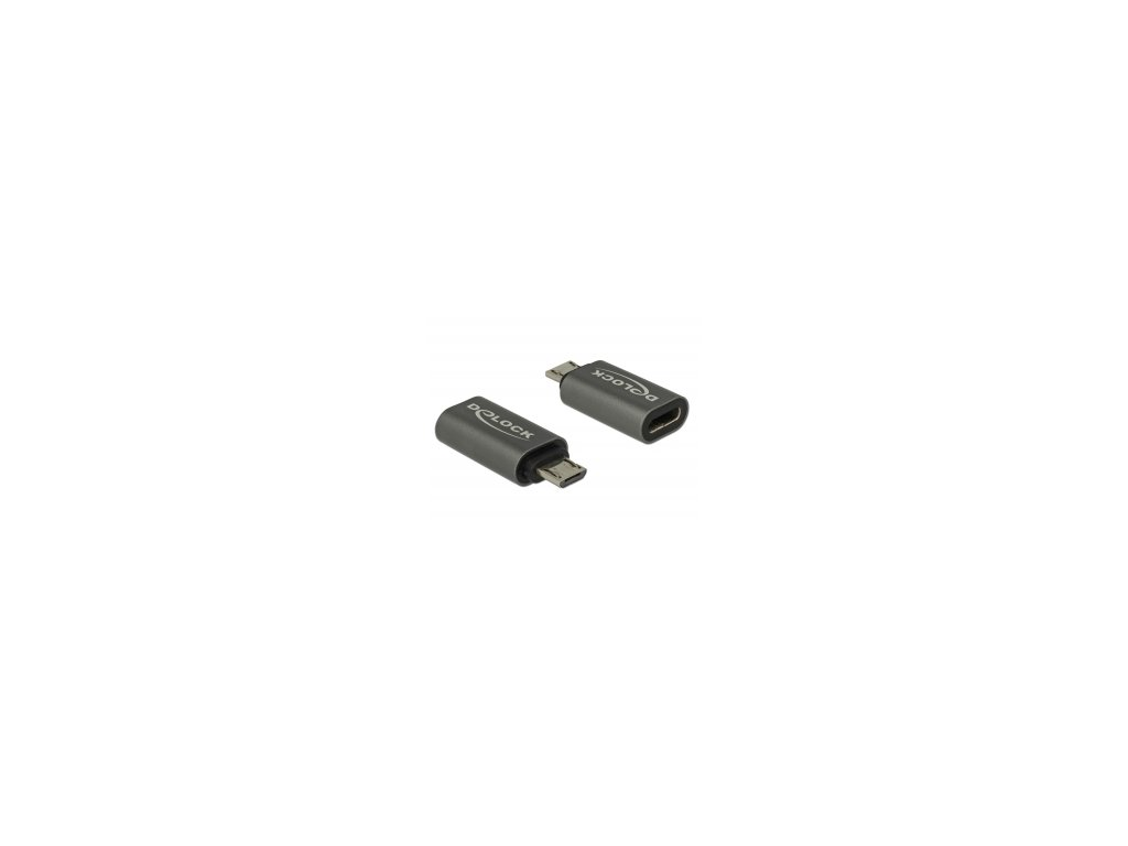 Delock Adaptér USB 2.0 Micro-B samec na USB Type-C 2.0 samice, antracit