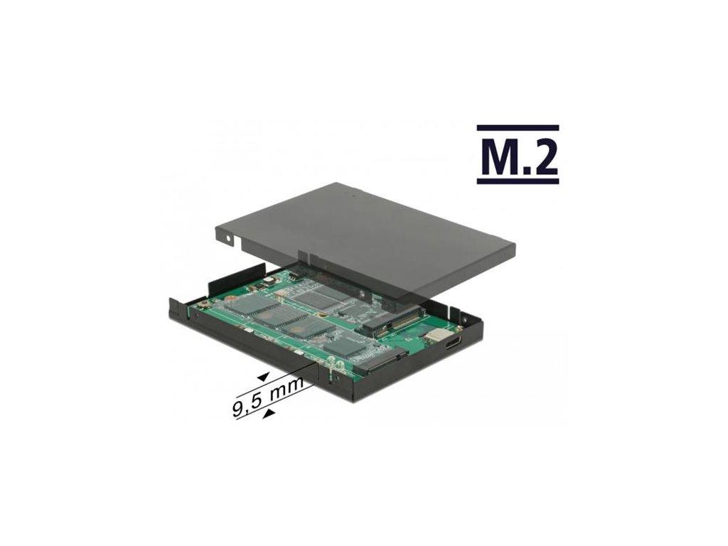 "Delock 2.5"" Převodník USB 3.2 Gen 2 USB Type-C samice > M.2 + mSATA s pouzdrem 9,5 mm"