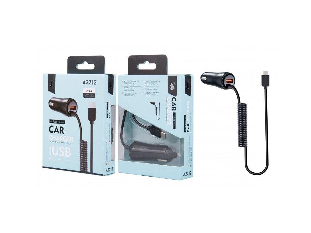 Aligator Nabíječka do auta PLUS A2712 , 1xUSB 2,4A a pevným datovým kabelem USB-C