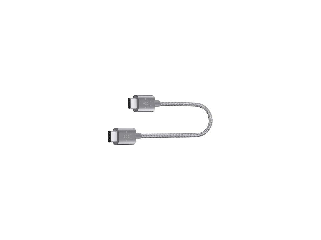 BELKIN MIXIT kabel USB-C to USB-C, 20cm, šedý