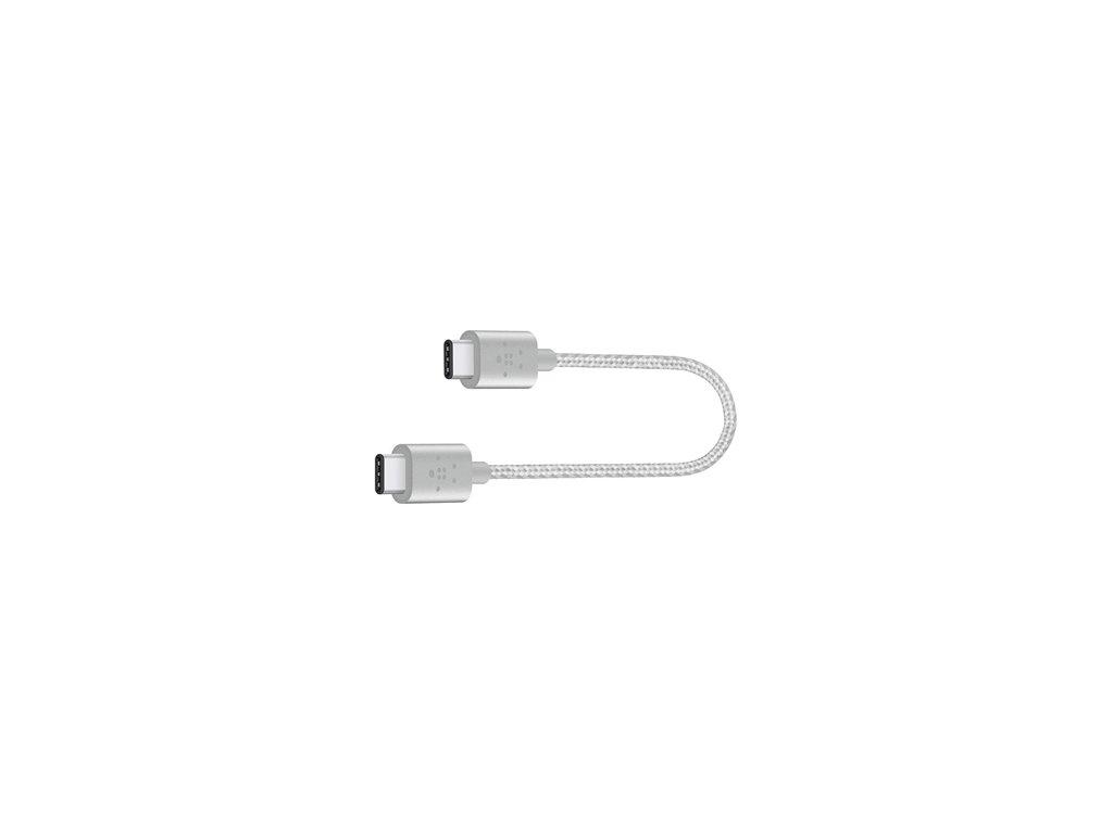 BELKIN MIXIT kabel USB-C to USB-C, 20cm, stříbrný