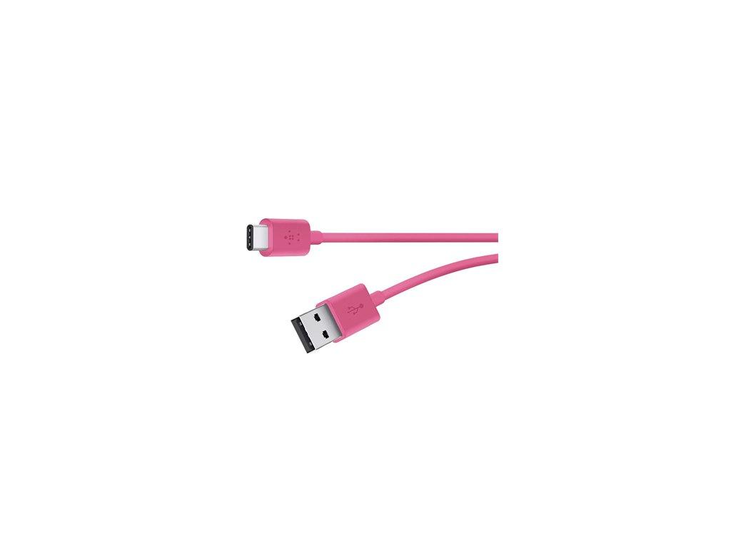 BELKIN MIXIT kabel USB-C to USB-A, 1.8m, růžový