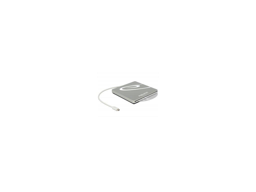 Delock Externí skrín s 5.25 slotem pro zabudování Slim SATA mechaniky 9,5 / 12,7 mm na USB Type-C samec stríbrná