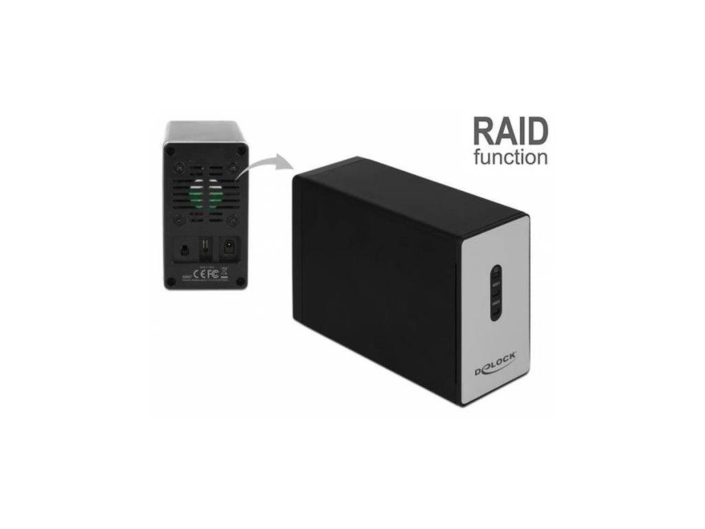 "Delock Externí USB 3.2 Type-C Enclosure pro 2 x 2.5"" SATA HDD / SSD s RAID"