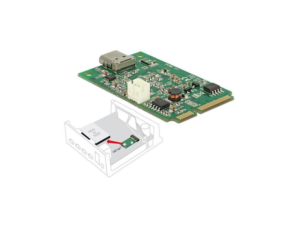 Delock Mini PCIe I/O PCIe full size 1 x USB Type-C 3.2 Gen 2 samice