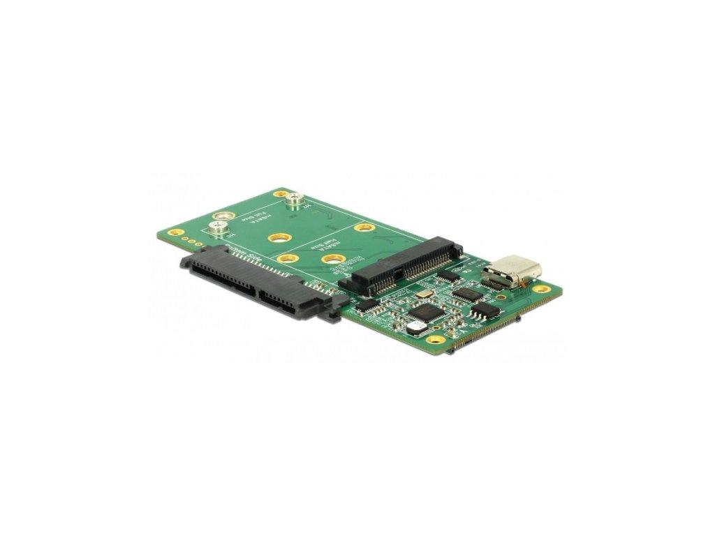 Delock Převodník SuperSpeed USB 10 Gbps (USB 3.2 Gen 2) s USB Type-C USB Type-C samice > 1 x SATA / 1 x M.2 Key B / 1