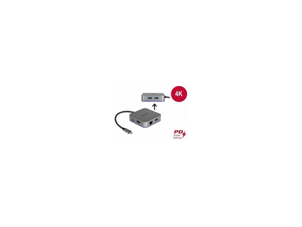 Delock Dokovací stanice USB Type-C pro mobilní zarízení 4K - HDMI / Hub / LAN / PD 3.0 s LED osvetlením