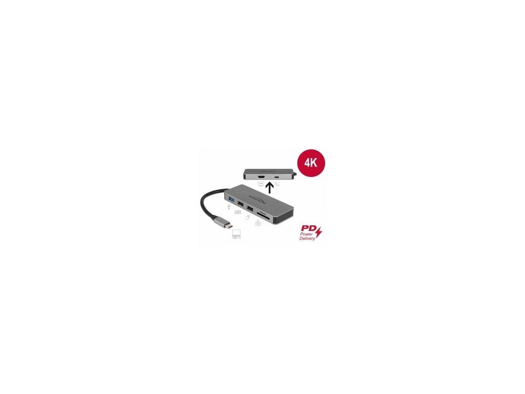 Delock Dokovací stanice USB Type-C pro mobilní zarízení 4K - HDMI / Hub / SD / PD 2.0