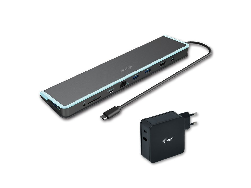 i-tec USB-C Flat Docking Station with Power Delivery 60W + i-tec Universal Charger 60W