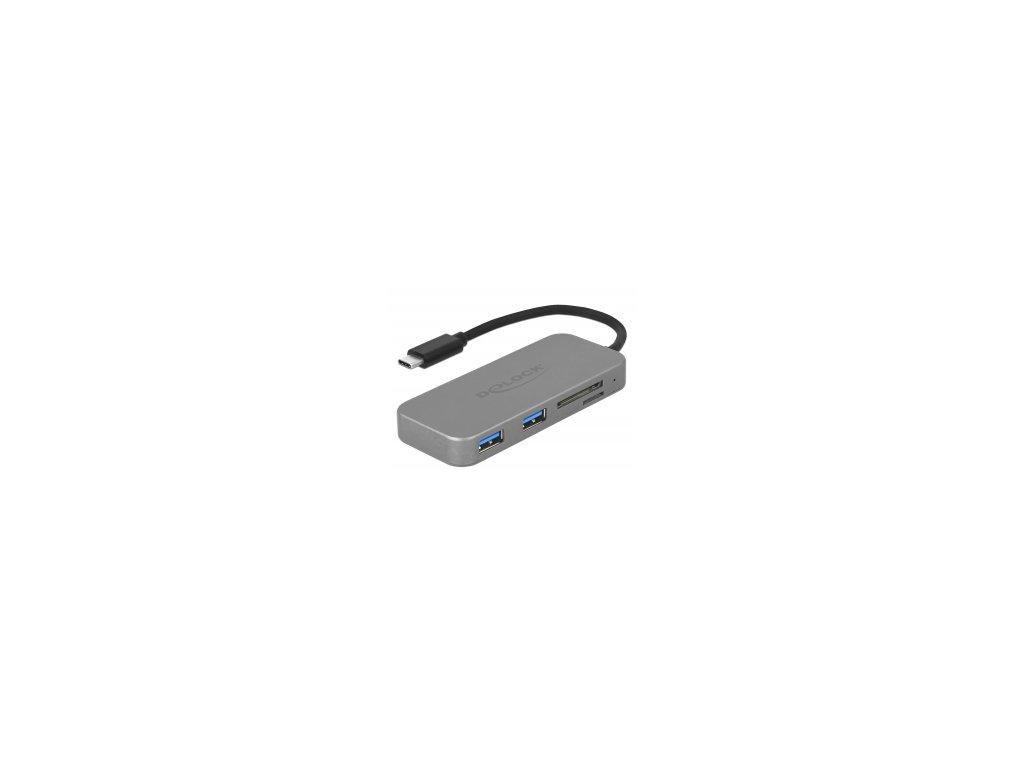 Delock Dvouportový rozbočovač USB 3.2 Gen1 a čtečka karet se třemi sloty s připojením přes USB Type-C