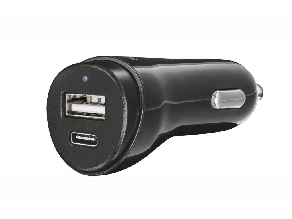 TRUST Fast Dual Car Charger USB, USB-C