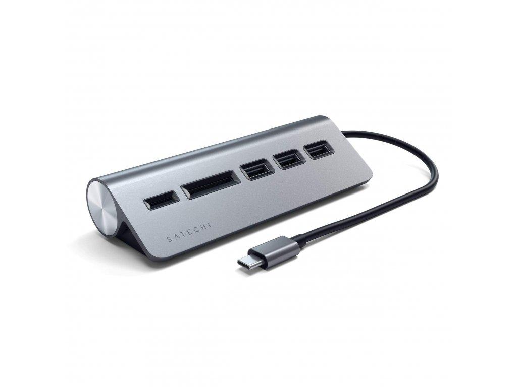 type c aluminum usb 30 hub card reader hubs satechi space gray 940559