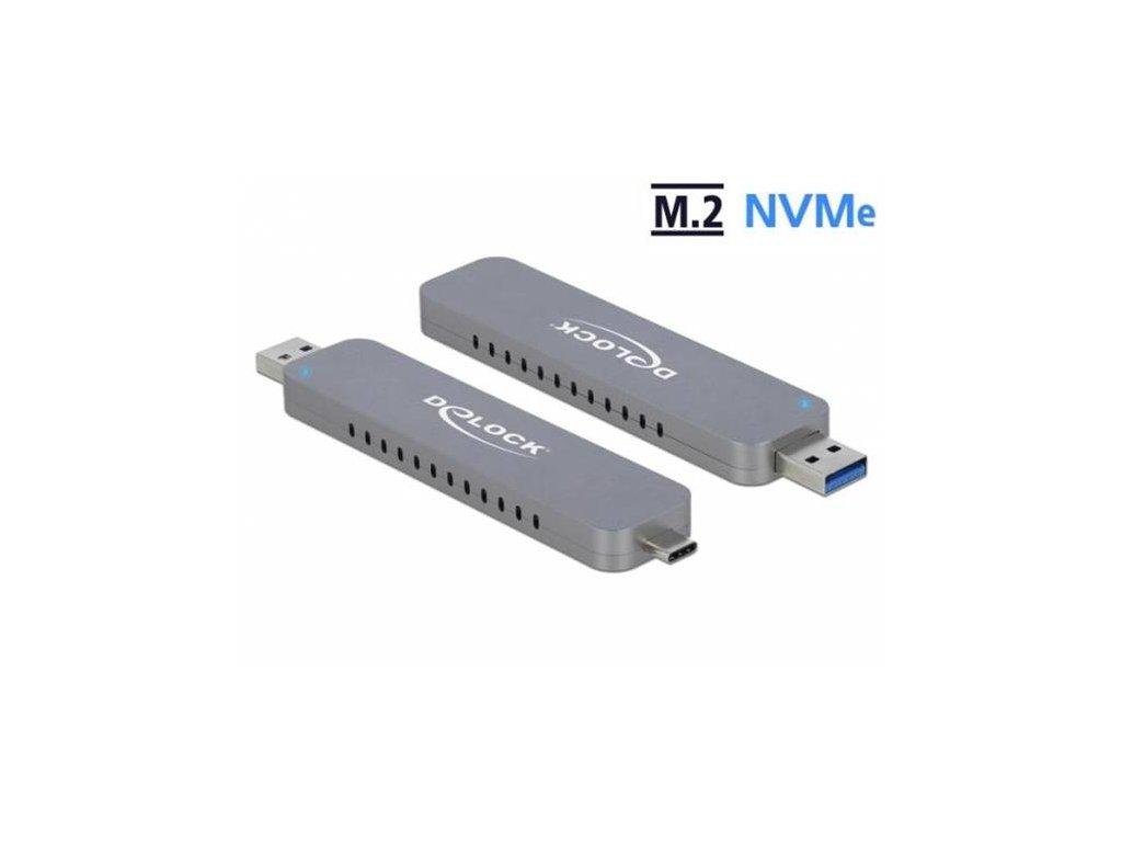 Delock Externí skříň pro M.2 NVME PCIe SSD se zástrčkovým konektorem USB Type-C a Typu-A