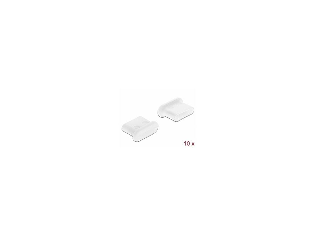 Delock Prachová záslepka pro USB Type-C samice, bez uchopení, 10 kusu, bílá