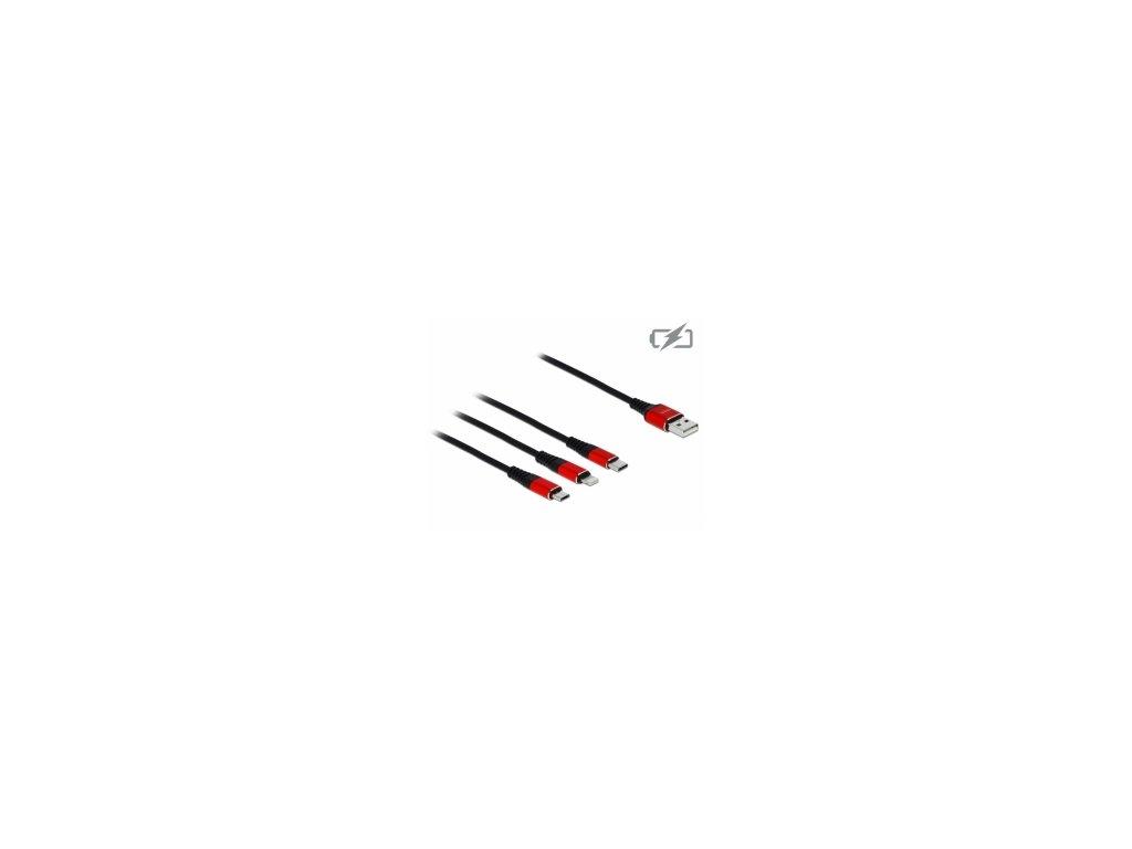 Delock Nabíjecí kabel USB 3 v 1 pro Lightning / Micro USB / USB Type-C, 30 cm