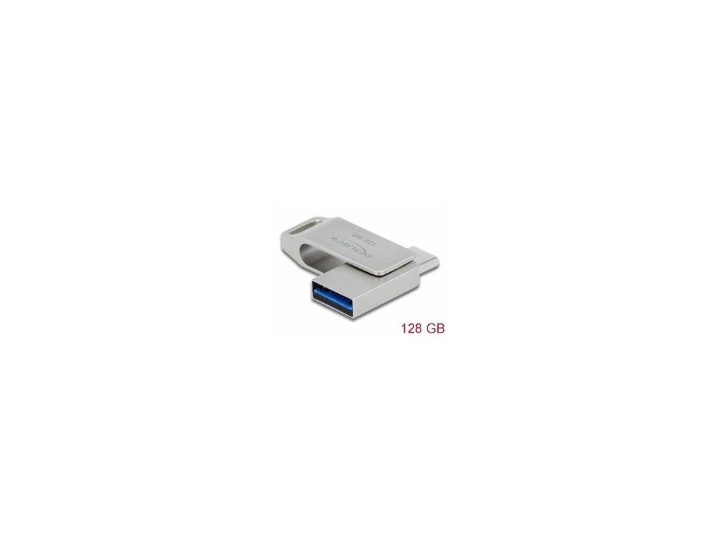Delock Flash disk USB 3.2 Gen 1, USB-C™ + Typ-A, 128 GB - kovový kryt
