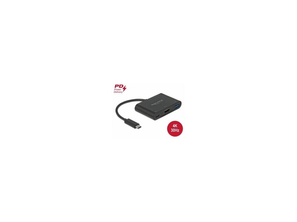 Delock Adaptér USB Type-C na HDMI 4K, 30 Hz, s PD USB Typu-A a USB Type-C PD