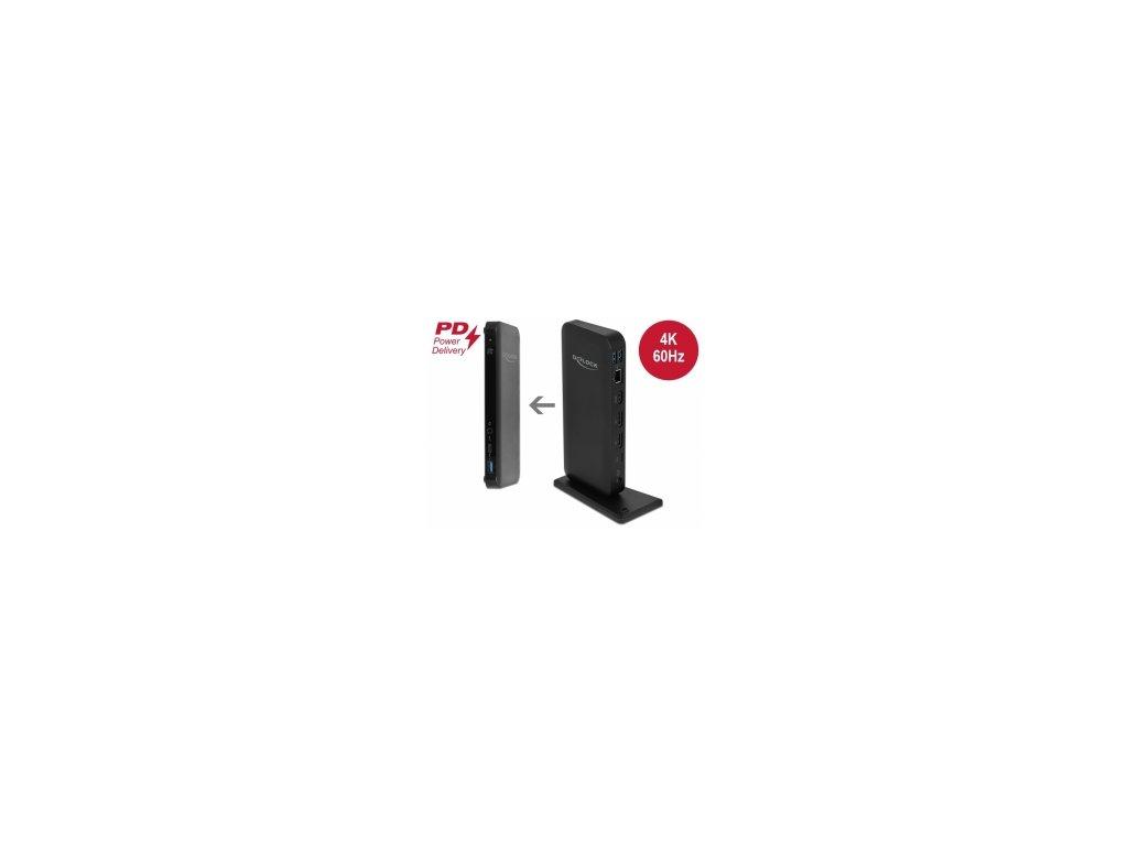 Delock Dokovací stanice USB Type-C DP 1.4 4K - HDMI / DP 1.4 / USB 3.2 / LAN / PD 3.0