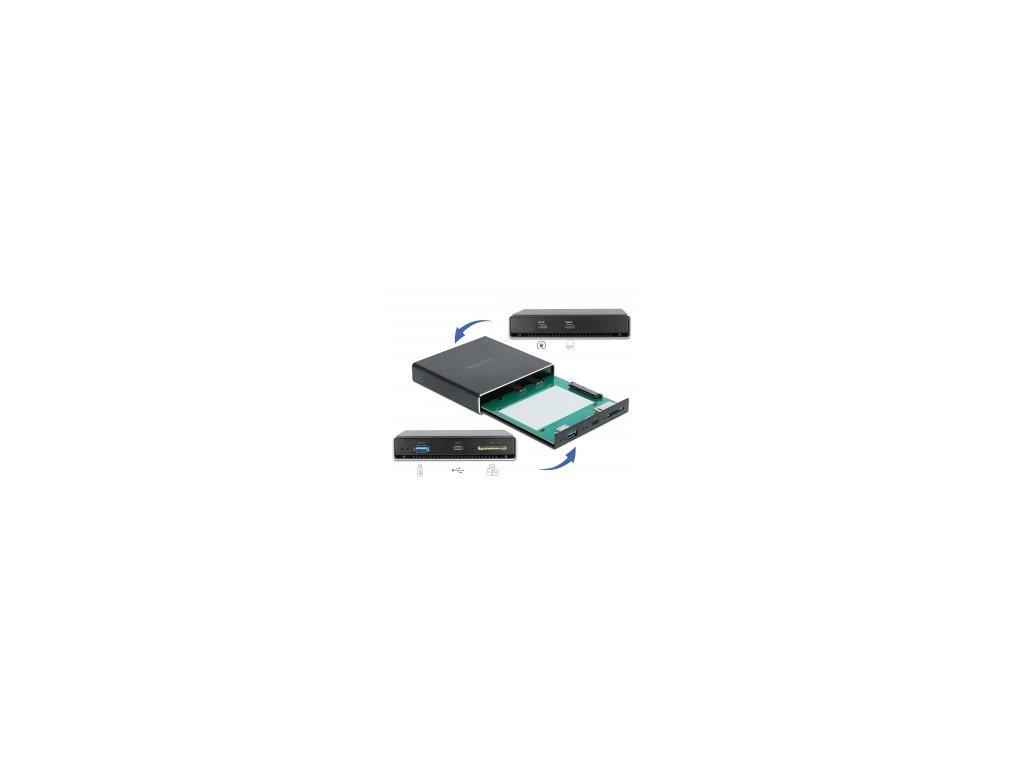 """Delock Externí pouzdro pro HDD / SSD SATA 2.5"""" s prídavnými porty USB Type-C a Typu-A a se slotem pro kartu SD"""