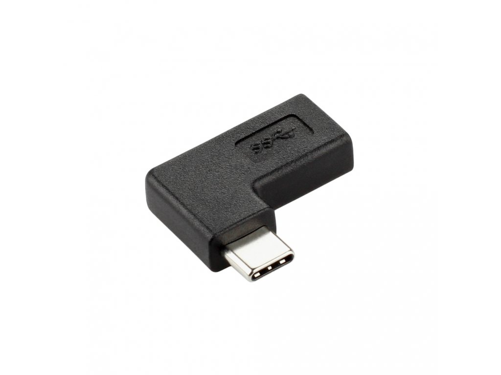 USB-C redukce 90 stupňů, plochá, černá