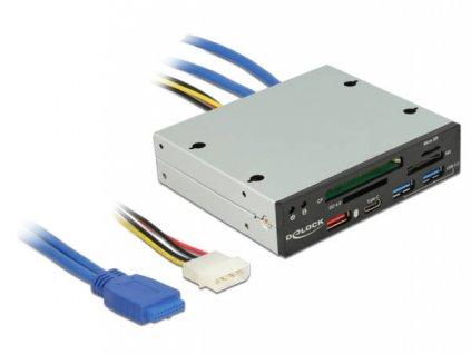 "Delock 3.5"" USB 3.2  Card Reader 4 slot + 1 x USB-C female + 3 x USB 3.2-A female"