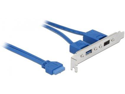Delock Záslepka 1 x 19 pin USB 3.1 pin konektor samice interní > 1 x USB Type-C™ samice + 1 x USB Typ-A samice externí