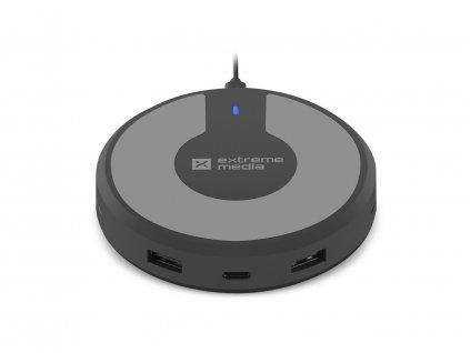 Natec Bezdrátová nabíječka Fast Charge 5V/3A, 1xType-C + 2x USB konektor