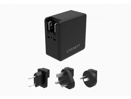 Cygnet DUAL USB-C,USB-A PD cestovní nabíječka 57W