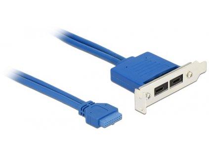 Delock Záslepka 1 x 19 pin USB 3.2 pin konektor samice interní > 2 x USB Type-C samice externí Low Profile