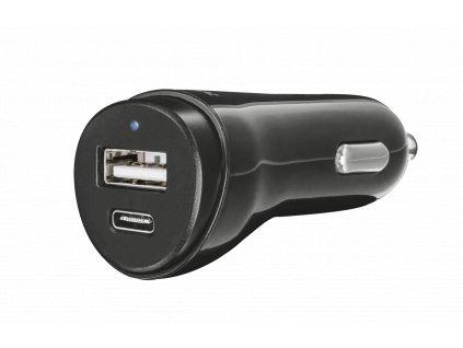 nabíječka TRUST Fast Dual Car Charger USB, USB-C