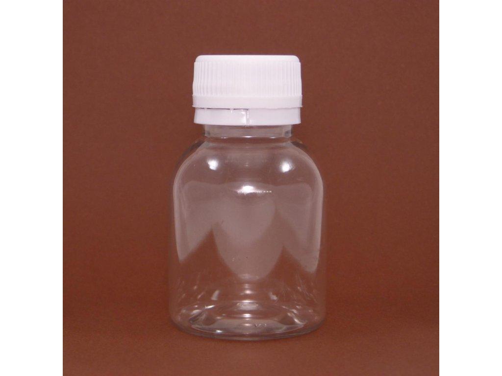 plastová fľaška 50 ml priehľadná transparent s uzáverom