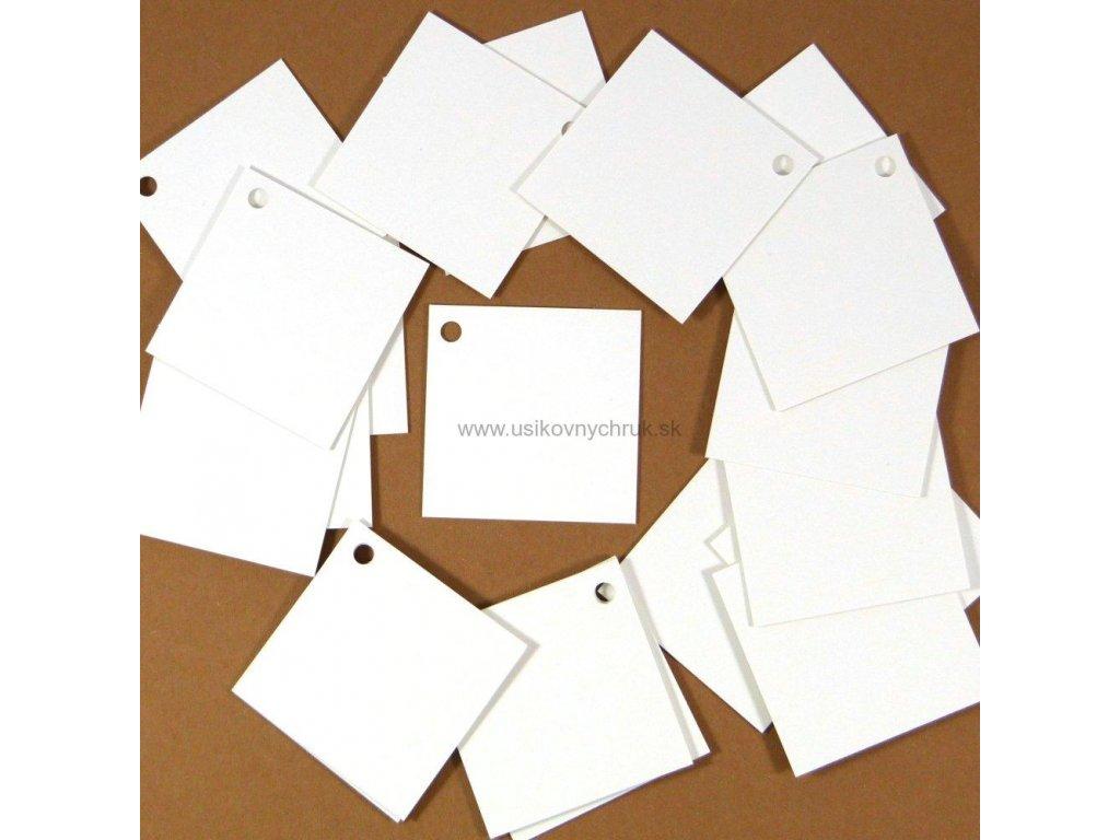 papierové visacky na tovar 4x4 cm