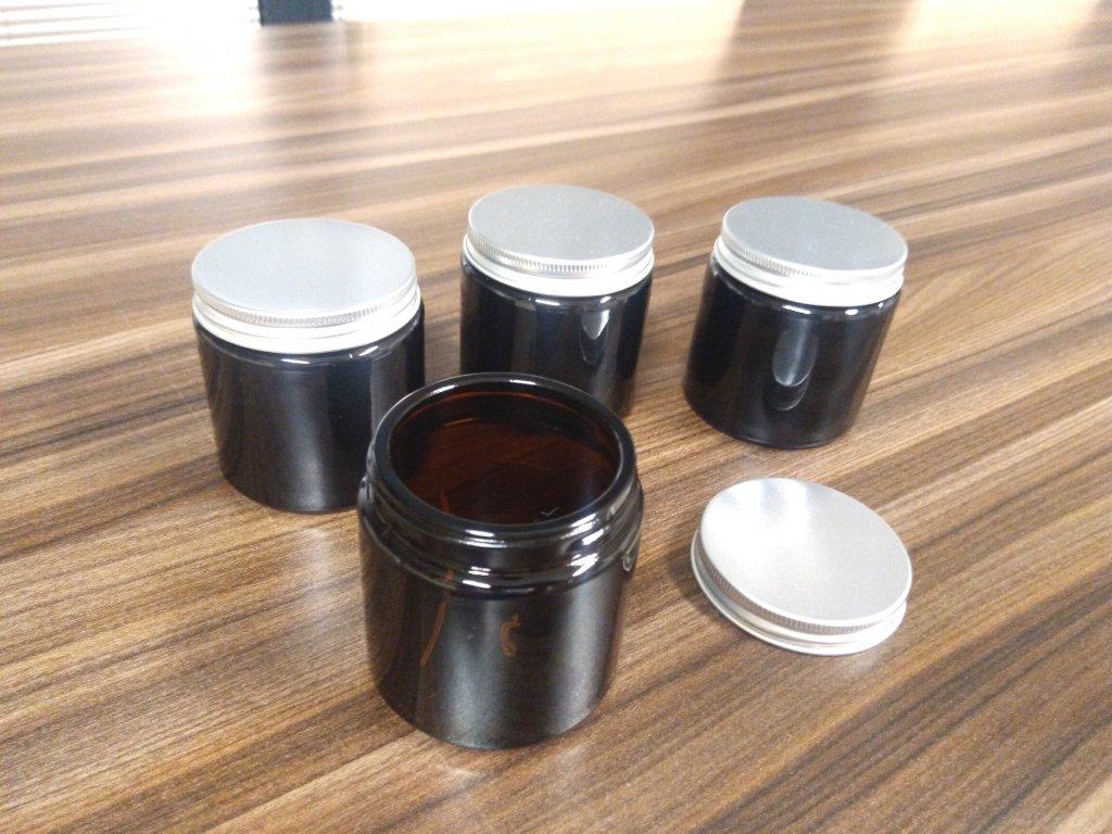 60 ml sklenené kelímky s hliníkovým viečkom